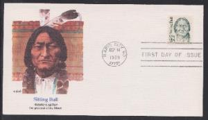 2183 Sitting Bull Unaddressed Fleetwood FDC