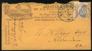 US #65 EST $150.00 EARLY ADVERTISING COVER, VF stamp, on EARLY ADVERTISING CO...