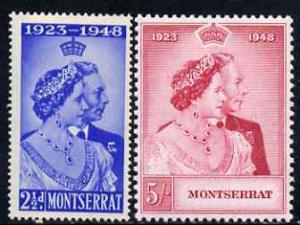 Montserrat 1949 KG6 Royal Silver Wedding perf set of 2 un...