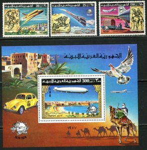"LIBYA Sc#675-678 1977 UPU Centenary ""Graf Zepplin"" OG Set & S/S Mint LH & NH"