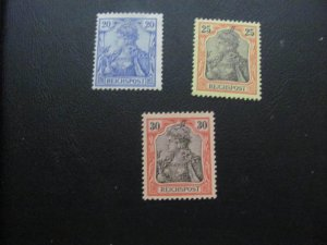 GERMANY 1900 HINGED 57/59  3 STAMPS GERMANIA