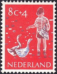 Netherlands # B338 mnh ~ 8¢ + 4¢ Child Feeding Geese