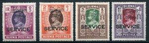 BURMA  Sc O52 - O55 Official Service Mint Never Hinged