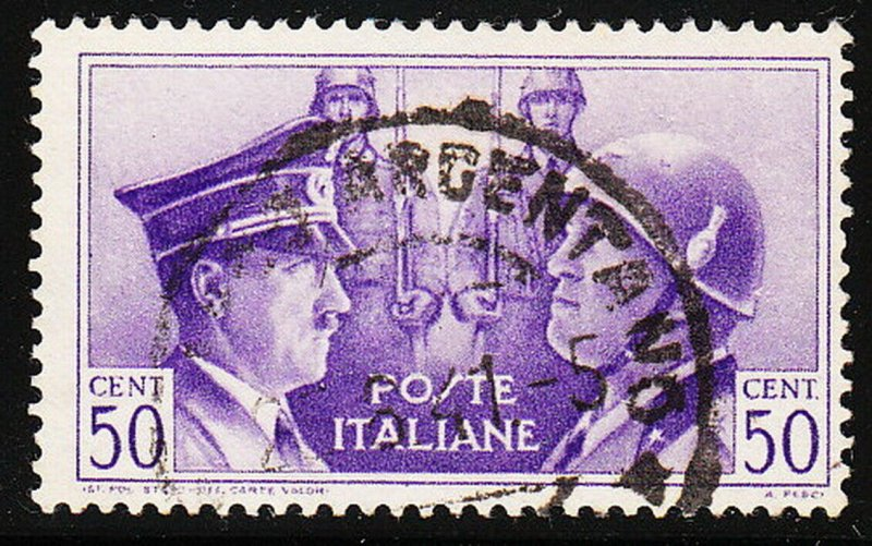 Stamp Italy SC 416 WWII War Socialist Fascist Hitler Mussolini Axis Used
