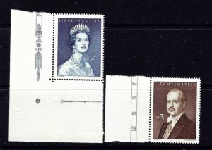 Liechtenstein 357-58 MNH 1960 set hinged in selvedge
