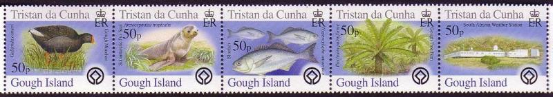Tristan da Cunha Birds Fish Marine Life Plants Gough Island strip of 5v