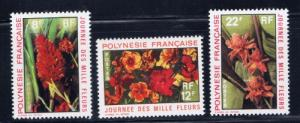 French Polynesia 264-66 Lightly Hinged 1971 Flowers