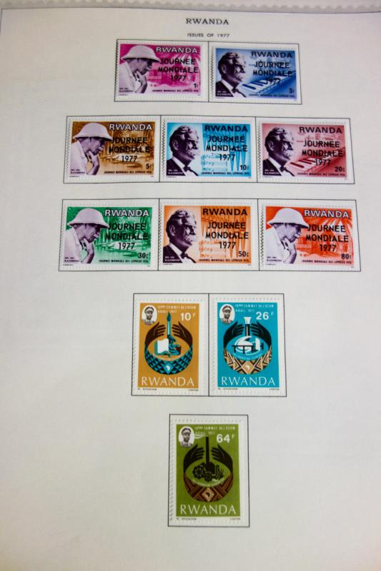 Rwanda Beautiful Mint Stamp Collection 1970-1990 on Pages