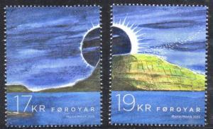 Faroe Islands Sc 639-40 2015 Solar Eclipse stamp set mint NH