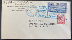 1928 Dominican Republic First Flight Airmail Cover FFC To San Juan Puerto Rico