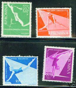 ROMANIA Scott 1155-8 MH* 1957 Gymnastic set CV$10.60
