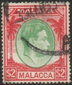 MALACCA-1949-52 $2 Green & Scarlet Sg 16 GOOD USED V45282