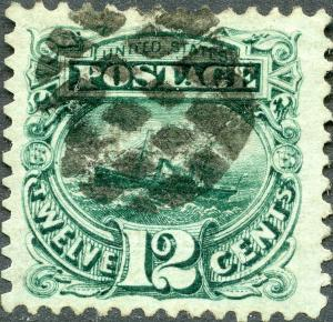 #117 XF+ USED GEM (APP) WITH FANCY CANCEL - REPERFED AT LEFT BM8040