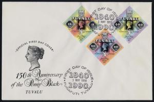 Tuvalu 539-41 on FDC - Stamp on Stamp