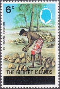 Gilbert Islands # 258 mnh ~ 6¢ Dehusking Coconuts, overprint