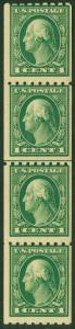 EDW1949SELL : USA 1912 Sc #410 Line Coil strip of 4. Mint Never Hinged. Cat $91+