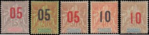 New Caledonia #117-121, Complete Set(5), 1912, Hinged