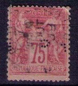France Scott #83 Type II Used Faulty Upper R Corner Perfin F-VF Cat.$110.00