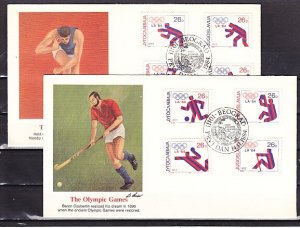 Yugoslavia, Scott cat. 1704 A-H. L.A. Olympics issue. 2 First day covers. ^