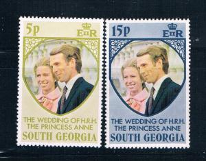 South Georgia 37-38 MNH set Princess Anne Wedding 1973 (S1039)