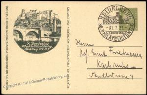 Germany 1932 Heidelberg Stamp Day Private Ganzsachen Postal Card Used Cove 68492