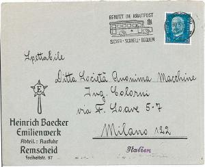 AUTO CARS AUOTBUS : POSTAL HISTORY : automatic postmark on COVER : GERMANY 1931