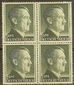Stamp Germany Mi 799a Sc 524 Block 3rd 1941 WW2 Fascist Adolf Head MNH