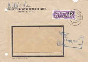 Germany DDR 1957 PREMNITZ (Havel) Cancel Central Courier Service Cover Ref 49047