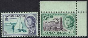 CAYMAN ISLANDS 1962 QEII PICTORIAL 1/9 AND 5/- MNH **