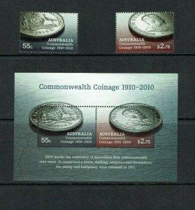 Australia: 2010 Centenary of First Australian Commonwealth Coins MNH set + M/S