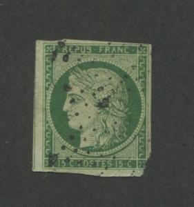 1849 France Postage Stamp #2 Used Average Postal Canceled