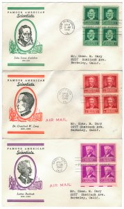 Scott 874,875,876 1940 1c-3c Famous Americans First Day Covers Cat $10.00