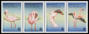 Angola Birds WWF Lesser Flamingo Strip of 4v SG#1402-1405 SC#1058 a-d