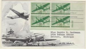 #C29 PLT# BLK/4 FDC HANDPAINTED BY LOWRY BL9748