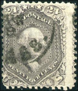 1869 US Stamp #99 24c F Grill Used Date Cancel Catalogue Value $1500 Certified