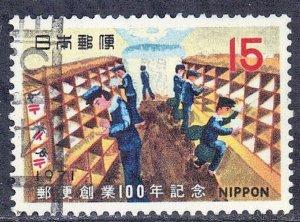 JAPAN SCOTT# 1059  1971  15y  RAILROAD POST OFFICE SEE SCAN