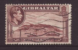 1944 Gibraltar 1d Perf 13 Wmk Sideways F/U