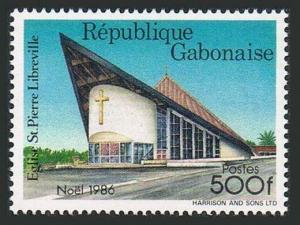 Gabon 607,MNH.Michel 976. Christmas 1986.St Pierre Church,Libreville.