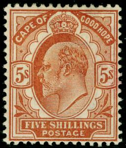 SOUTH AFRICA - Cape of Good Hope SG78, 5s brown-orange, M MINT. Cat £160.