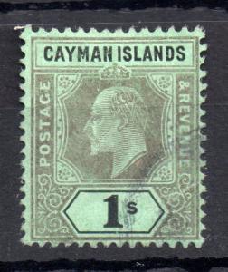 Cayman Islands KEVII 1907 1/- green back SG33 fine used WS11523