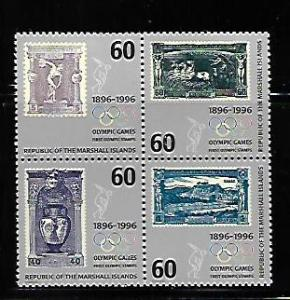 MARSHALL ISLANDS, 606, MNH, BLOCK OF 4, OLYMPIC GAMES
