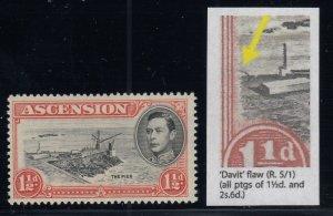 Ascension, SG 40a, MNH Davit Flaw variety