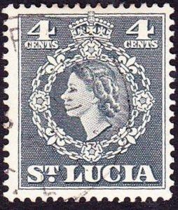 ST LUCIA 1954 QEII 4c Slate SG175 FU