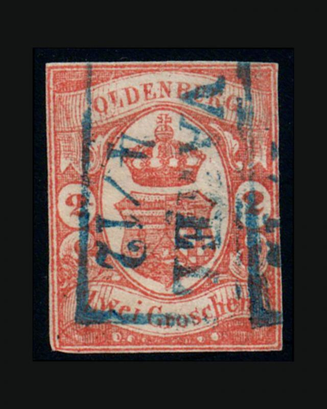 VINTAGE:GERMANY-OLDENBURG 1861 USD LH  SCOTT #14 $450 LOT # 7543Z