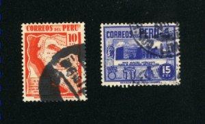 Peru #377, 378  used VF 1938 PD