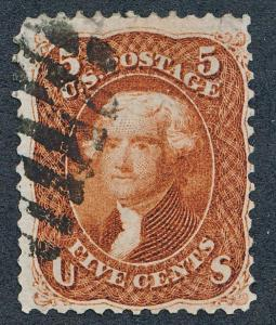 UNITED STATES (US) 75 USED, FINE, LIGHT CANCEL, RED BROWN