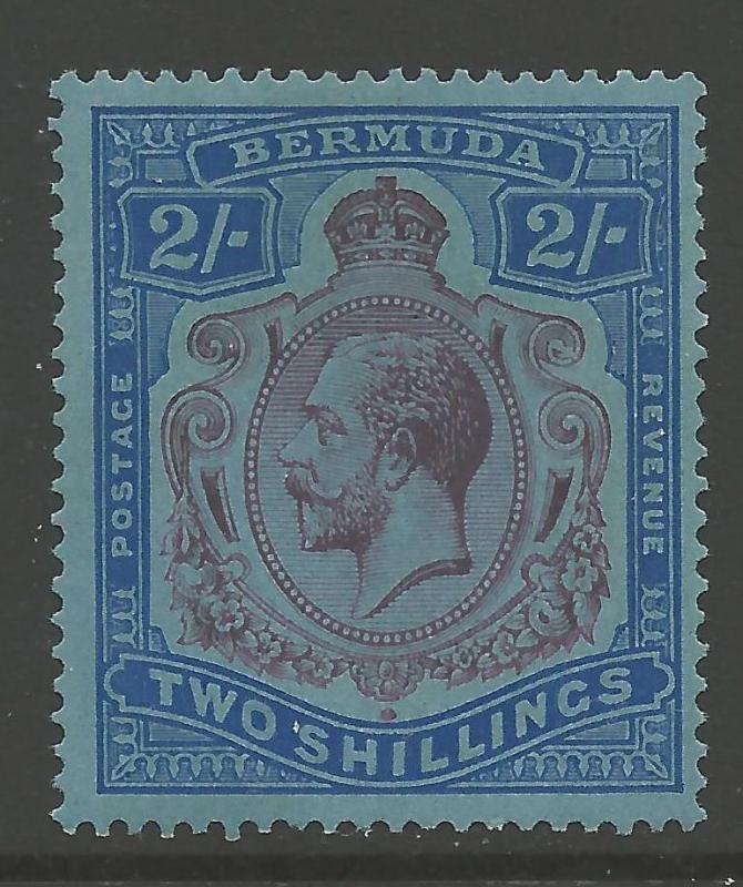 BERMUDA SG88gd 1931 2/= PURPLE & BLUE/GREY-BLUE BREAK THROUGH SCROLL MTD MINT