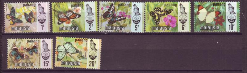 J18027 JLstamp  [low price] 1971 malaya pahang set mh #74-80 butterflies