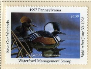 US PA15 PENN STATE DUCK STAMP 1997 MNH SCV 9.00 BIN $5.50