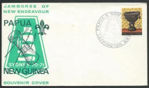PAPUA NEW GUINEA 1970 cover SCOUT JAMBOREE commem cancel...................12410